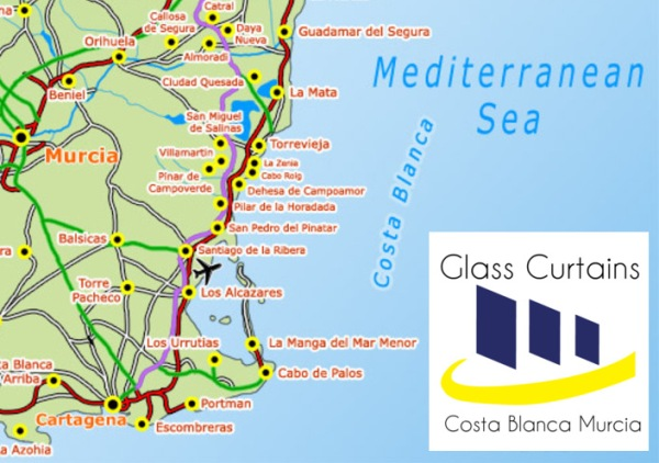 Glass Curtains Costa Blanca Murcia Map